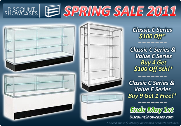 Discount Showcases 2011 Spring Sale On Display Cases