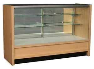 Bold Full Vision Wood Display Cases Locking Mirror Glass